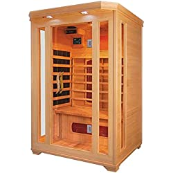 ALEKO SC2VAGA Canadian Hemlock Indoor Outdoor Dry Mini Sauna 1.5 kW Far Infrared Heater 2 Person 47 x 47 x 75 Inches