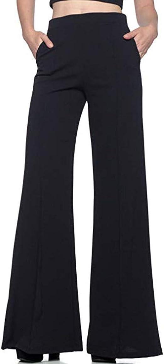 Kiyotoo Womens Stretch Palazzo Wide Leg Pants High Waisted Flared Leg Pants Lounge Work Pants for Women Slim Yoga Pants