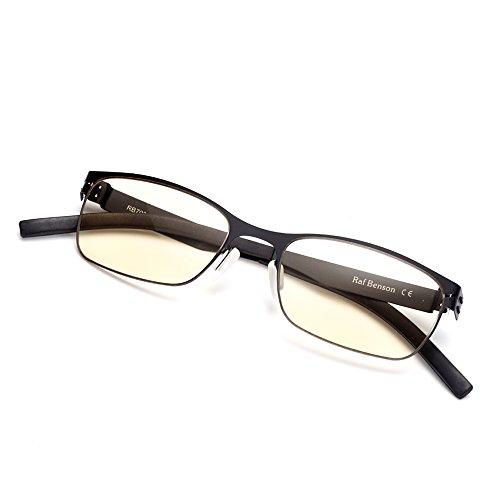 Rafbenson Stainless Steel Reading Glasses Portable Anti Fatigue (Matte Black, - Price Clubmaster