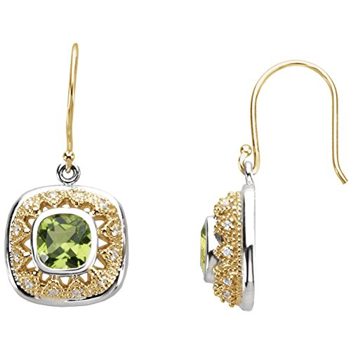 Peridot & Diamond Earrings in Two-Tone 14k Yellow Gold & Sterling Silver ()