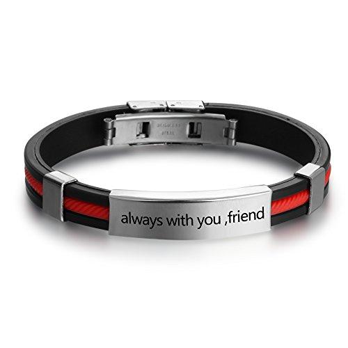 Id Stainless Engraved Steel Bracelet (Personalized Engraved Stainless Steel Rubber Bracelet for Men Women Kids DIY Custom Name Date ID Bracelet (Red))