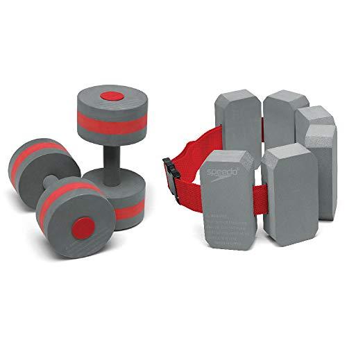 Speedo Aqua Fitness Barbells & Belt Combo, Grey/Red ()