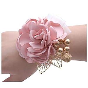 HappyERA Wrist Flower Pearl Silk Rose Ribbon Wedding Bride Bridesmaid Corsages Hand Flower 43