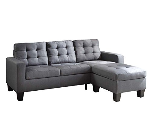 ACME Earsom Gray Linen Sectional Sofa with Reversible Ottoman