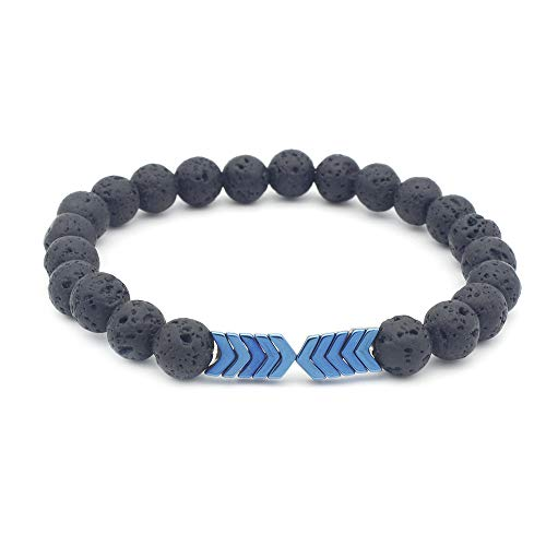 Natural Bangles (aSulis Men Women 8mm Lava Rock 7 Chakra Diffuser Bracelet Elastic Natural Stone Yoga Beads Bracelet Bangle (Hematite - Blue))