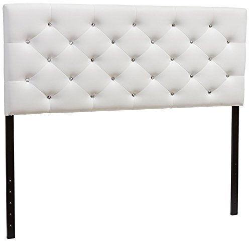 Baxton Studio Viviana Modern & Contemporary Faux Leather Upholstered Button Tufted Headboard, Full, White