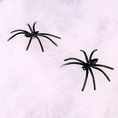 Livingly Light Party Supplies Super Stretch Spider Webbings Spooky Simulated White Cotton Webs of Halloween Decorations, 1 Package include 2 Little Spiders, 5 Packages (Halloween Decorations Garage Door)