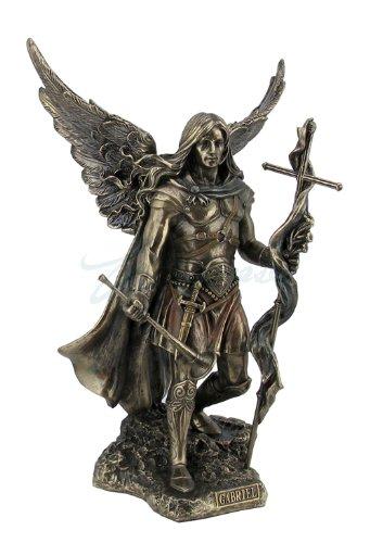 Archangel Saint Gabriel with Cross and Trumpet Statue Sculpture