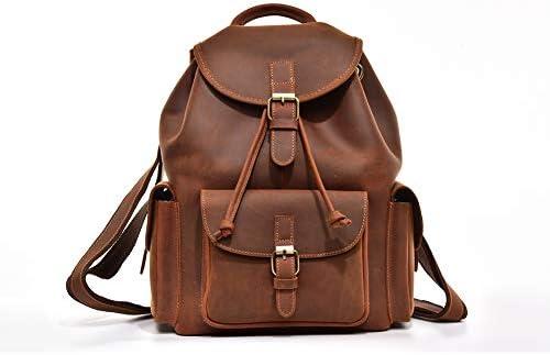 レトロメンズショルダーバックパックレザーブリティッシュハンドメイドバッグ女性スクールバッグはあなたの電話を保存することができますipadと雑誌28×14×34CM