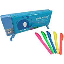 Double-Sided Soft Pen Pencil Elephant Case Magnetic Cover 9 x 3.25 Inches Blue with Brite Liner Highliters (6 Piece Set)