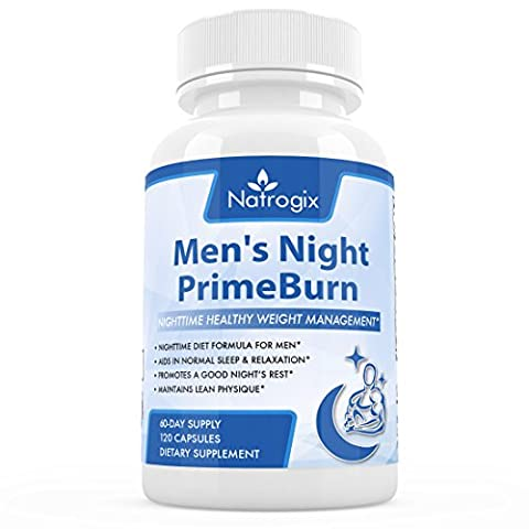 Natrogix Nighttime Fat Burner for Men, 120 Vcaps, Weight Management & Sleep Aid, to Burn Fat, Build Muscle and Boost Metabolism While You (Calorie Burner)