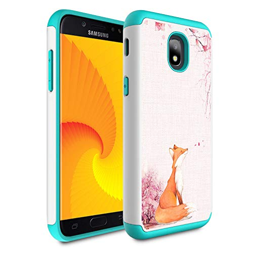 Galaxy J7 Refine/J7 2018/J7 Star/J7 Top/J7 Aura/J7 Aero/J7 Crown/J7 Eon Case,Skyfree Heavy Duty Dual Layer Bumper Protective Phone Case for Samsung Galaxy J7 2018,Fox Cherry Blossoms