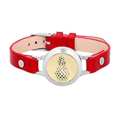 Red Pineapple Fragrance - SENFAI Pineapple Aromatherapy Stainless Steel Locket Bracelet Genuine Leather Band Bangle(Red Band + Gold face)