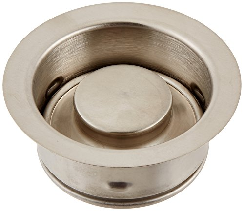 Waste King Decorative Garbage Disposal 3-Bolt Mount Sink Flange and Stopper, Satin Nickel - (White Disposer Flange)