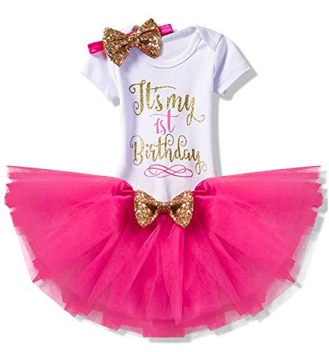 TTYAOVO Pasgeboren meisje, mijn 1e / 2e verjaardag, 4-delige outfit met rompertje + tutu-jurk + hoofdband + leggings