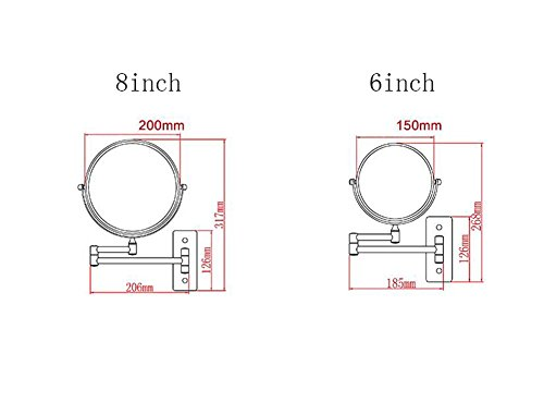 6/8-inch Bathroom Mirror Double Sided Makeup Mirror 3X, 5X,7X,10X/1X Magnification Wall Mounted Vanity Magnifying Mirror Swivel, Extendable For Bath, Spa And Hotel ( Design : 5x , Size : 6-inch ) by GAOLIQIN (Image #3)