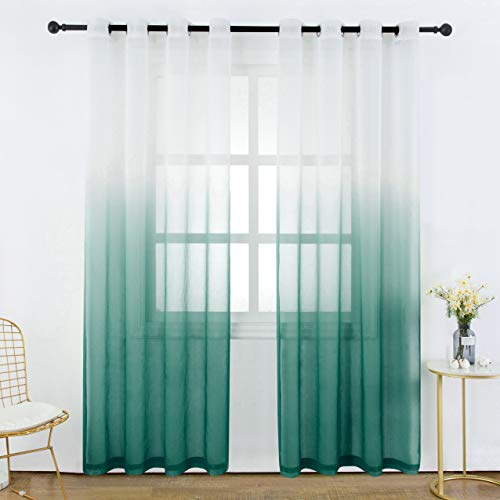 2 Panel Curtain Set - Bermino Faux Linen Sheer Curtains Voile Rod Pocket Semi Sheer Curtains for Bedroom Living Room Set of 2 Curtain Panels 54 x 95 inch Dark Green Gradient