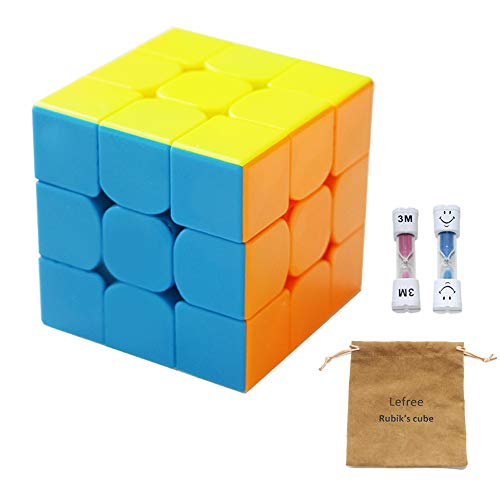 Lefree 3x3 Rubik's Cube for All Ages, Comes with Two Hourglasses and Solution Guide Smooth Turning Speed Cube for Kids Toy and Gift