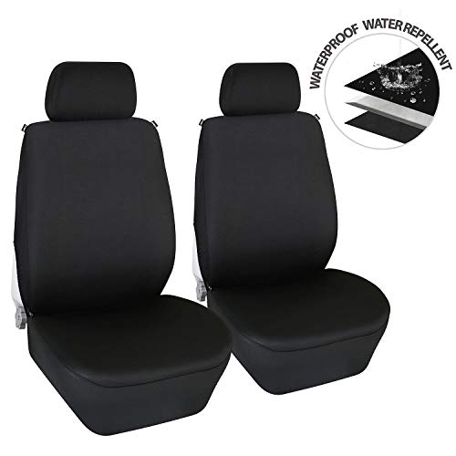 (Elantrip Waterproof Front Seat Covers Neoprene Universal Fit Bucket Car Seat Protection with Semi Back Airbag Compatible for Auto SUV Truck Van Black 2 PC)