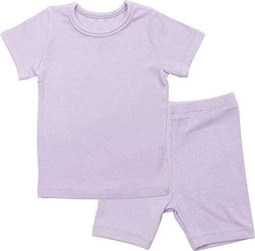 (AVAUMA Newborn Baby Little Boys Snug-Fit Pajamas Summer Short Sets Pjs Kids Clothes (Medium / 2T, Light Purple))