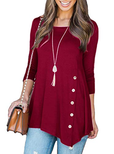 Adreamly Women's 3/4 Sleeve Casual Scoop Neck Button Side Lo