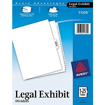 Two (2) Sets - Avery Premium Collated Legal Exhibit Divider Set, Avery Style, 1-25 and Table of Contents, Side Tab, 8.5 x 11 Inches (Avery Premium Collated Legal Dividers)