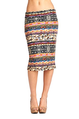 82 Days Women'S Ponte Roma Printed Regular To Plus Below Knee Pencil Skirt - B47 Purple & Cream L (Leopard Pencil Skirt Print)