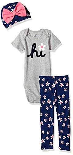 Gerber Baby Girls' 3-Piece Bodysuit, Pant and Cap Set, Daisy, 6-9 Months