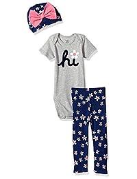 Gerber - Body para bebé y niña (3 Piezas), diseño de pantalón y Gorra