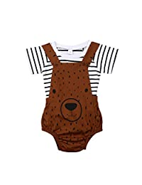 One Persent 2Pcs Newborn Baby Boy Girl Clothes Set Bear Romper Jumpsuit Short Sleeve Stripe T Shirt+Overall Pants Outfit