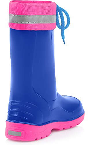 Ladeheid Kinder Gummistiefel mit Stulpe LA-972 Blau/Rosa