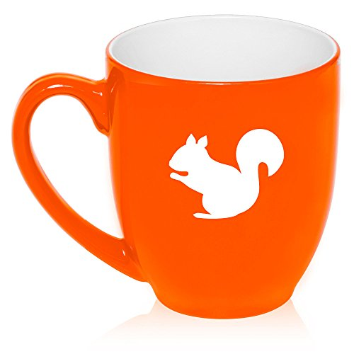 (16 oz Large Bistro Mug Ceramic Coffee Tea Glass Cup Squirrel (Orange))