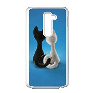 Custom Animal Cat Painting Blue Background Cute Pattern Case For LG G2