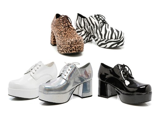 Pimp Adult Costume Shoes Zebra Print - Medium - Plats Costume Shoes