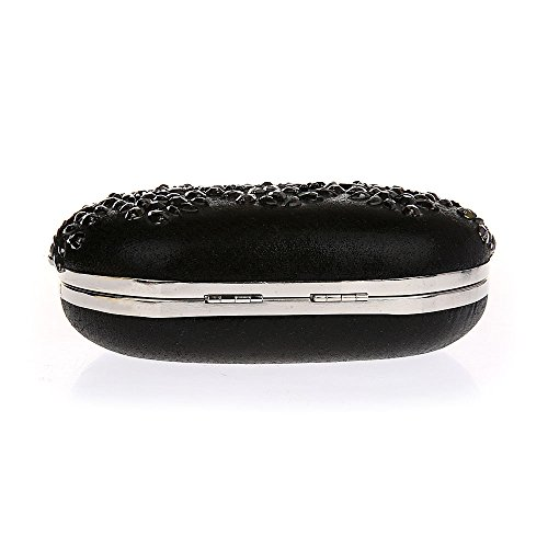 Rétro Ovale Soirée Main Simple Diamanté Pochette Femme Chic à Perle Sac de Noir Face Broderie rwr4xTqP1