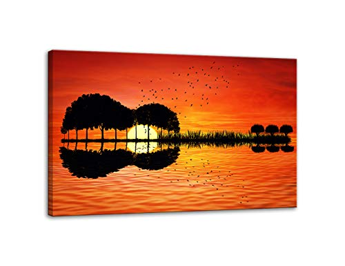 Urttiiyy Modern Abstract Guitar Tree Lake Sunset Art Canvas Painting Living Room Decorating Painting Home Decor HD Printed Artwork Poster Framed Ready to Hang ()