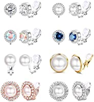 SAILIMUE - 8 pares de aretes de clip para mujer, aretes de perlas de agua dulce, de cristal, circonita cúbica,
