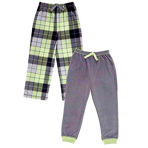 Fleece Pants Boys Pajama (St. Eve Boys' Sleep Pant 2-pack Green and Grey (8))