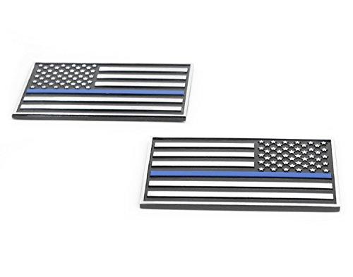 USA American 3D Metal Flag x2 emblem for Cars Trucks (Black & Chrome with Thin Blue Line) (Car Metal Blue)