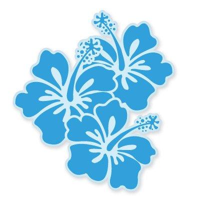 Hibiscus Blue Surfboard - Hibiscus Flowers Blue Vinyl Sticker - Car Window Bumper Laptop - SELECT SIZE