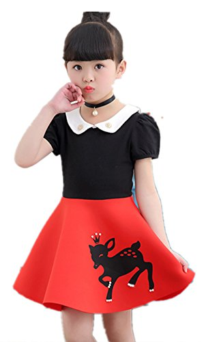 FTSUCQ Girls Cartoon Long Sleeve Princess Dresses,Red 110