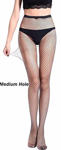 Tights Stretch Mesh (Senchanting Women Hot Chic Vintage Black Big Cross Fishnet Tights Seamless Nylon Large Mesh Stockings Pantyhose(Medium Plaid))