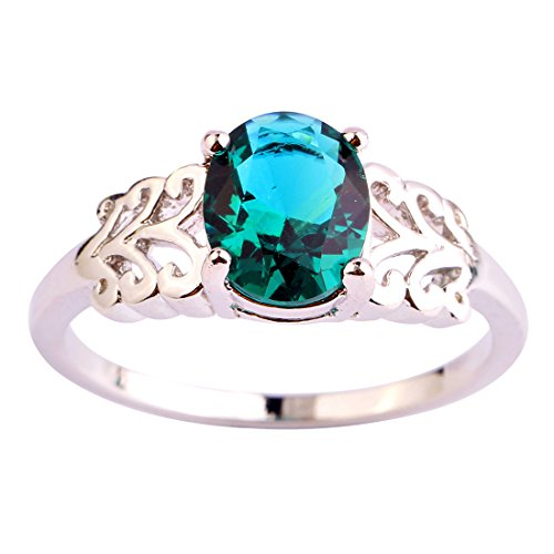 LingMei Vintage Style Carving Oval Cut Green Stone Silver Plated Women's Costume Ring US Size (12)
