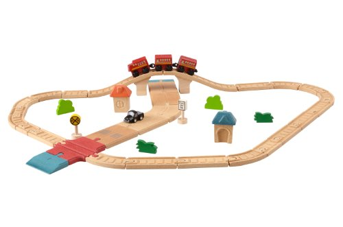 Plan Toys Train - Plan Toys City Road and Rail Play Set