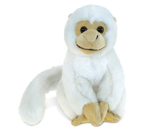Monkey Squirrel Stuffed Toy - Puzzled White Long Tail White Squirrel Monkey Plush, 12.5 Inch Super Soft & Cuddly Deluxe Furry Snuggie Critter Stuffed Toy Rainforest Species Wildlife Animals Themed Kids Toddlers Toys & Games