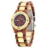 Bewell Wood Watches for Womens Mini Size with Calendar Luminous Hands Watches