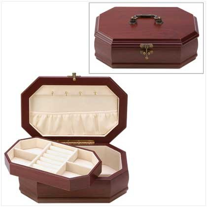 Box Jewelry Elegant (Elegant Rosewood Finish Jewelry Box Case Holder Tray)