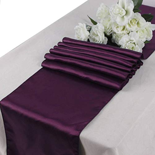 mds Pack of 20 Wedding 12 x 108 inch Satin Table Runner for Wedding Banquet Decoration- Eggplant from mds