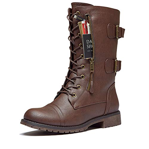 DailyShoes Women's Military Lace Up Buckle Combat Boots Mid Knee High Exclusive Credit Card Pocket, Brown Pu, 8 B(M) -