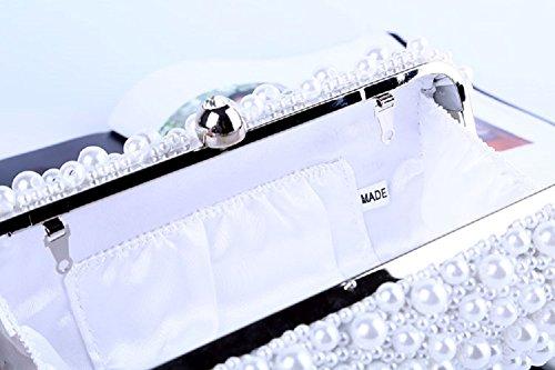 White Epaule Soirée Valentin De Main Élégant Pochettes De Pour Cadeau Avec Sac Bandoulière D'anniversaire Sac De Mariage Mariée Sac À Perles Chaîne Sac Bal vqpgxF